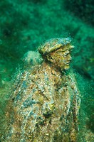 Underwater museum ´Reddening leaders´, Vladimir Ilyich Ulyanov, Lenin, sculpture, Cape Tarhankut, Tarhan Qut, Black sea, Crimea, Ukraine, Eastern Euro...