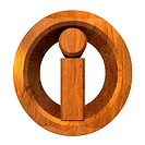info symbol in wood 3d