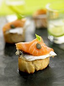 Anchovy,smoked salmon and caper crostini