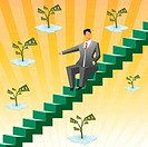 Businessman sitting on boxes and pointing towards money plants