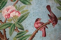 DETAIL OF THE CHINESE WALLPAPER DATING FROM THE 18TH CENTURY, CHINESE SALON, CHATEAU DE MAINTENoN, EURE_ET_LOIR 28, FRANCE