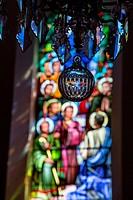 STAINED_GLASS WINDOWS IN THE CHURCH, LA FERTE_VIDAME, EURE_ET_LOIR 28, FRANCE