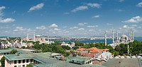 View over Bosphorus, Blue Mosque and Hagia Sophia museum, Istanbul, Turkey / Sultan Ahmed Mosque