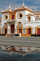 PLAZA DE TOROS, LA MAESTRANZA ARENA, DATING FROM THE 18TH CENTURY, IN BAROQUE SEVILLE STYLE, SEVILLE, ANDALUSIA, SPAIN