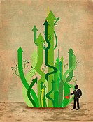 Illustrative image of business man watering arrows representing business growth