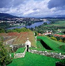 View across River Minho to Spain from fortress town of Valenca do Minho, Portugal