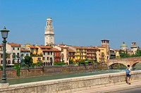Verona. The Stone bridge. Ponte di petra. Adige river. Sant Giorgio in Braida church. Veneto. Italy. Europe