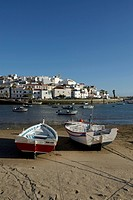 Algarve, boats, Ferragudo, fishing village, Portugal, Europe, beach, seashore, sea, houses, homes, swimming