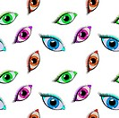 eyes pattern, abstract seamless texture vector art illustration