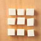 Slice of Tofu on Cutting Board