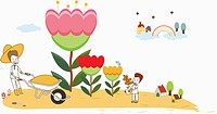 illustration of a family planting flowers