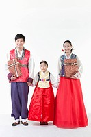 a family walking together in Hanbok