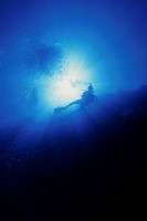 scuba diver silhouette in sun light rays