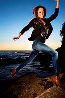 Woman beach energy