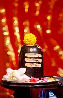 Shiva lingam in hindu temple