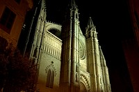 Cathedral of Palma de Mallorca at night, Spain