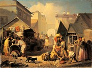 The Cooked Food Market in St. Petersburg, by Volkov Adrian Markovic, 19th Century, 1858, oil on canvas, cm 95 x 130