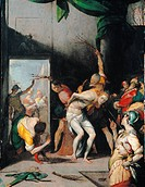 The Flagellation of Christ, by Crespi Giovan Battista known as il Cerano, 17th Century, oil on copper, cm 52 x 40