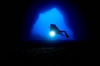 Scuba Diver inside Cave, Gozo, Mediterranean Sea, Malta