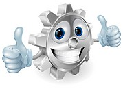 Gear giving thumbs up cartoon character