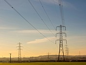 England, Northumberland, Seaton Delaval. Electricity Pylons carrying electricity through Southern Northumberland.