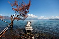 Lone dock in Lake Atitlan.