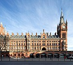 St Pancras Hotel, London, United Kingdom. Architect: Sir Giles Gilbert Scott with Richard Griffiths Arc, 2011. Front elevation of south facade.