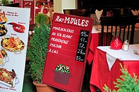 Brussels, Belgium. Restaurant sign showing price of Mussels dishes