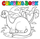 Coloring book dinosaur scene 1