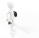 3d man fencer with mask and sword