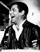 American actor Jerry Lewis (Joseph Levitch) laughing in Focette. Marina di Pietrasanta, 1970s