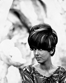 The Italian actress Luisella Boni (Luisa Angela Bozzo) showing a hairstyle by the Roman hair stylist Filippo. 1964