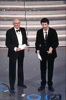Renato Dulbecco, Nobel Prize in Physiology or Medicine with Fabio Fazio, presenter at the 49th Sanremo Music Festival. Sanremo, February 1999. 49th Sa...