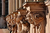 series of grotesque capitals at a famous baroque palace and museum in dresden, the building has been rebuilt after second world war damages