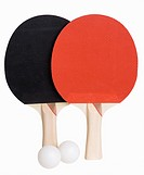 Ping Pong paddles and balls isolated on white, includes clipping path