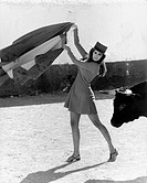 American actress Raquel Welch (Jo Raquel Tejada) holding a cape and pretending to be a bullfighter. She's in Spain to shot the film Phatom. Malaga, 19...