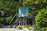 A colorful beach cottage on the island of Cay Caulker, Belize