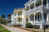 Historic home architecture in Galveston, Texas, USA