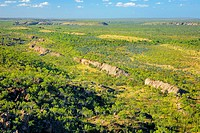 Cliff line from the air at high altitude, Broadmere Station, western Gulf of Carpentaria, Northern Territory, Australia