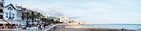 Panoramic view of Old Sitges seaside boulevard, close to Barcelona, Spain
