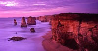 The Twelve Apostles at dusk with remnant of collapsed stack in foreground, Port Campbell National Park, Victoria, Australia