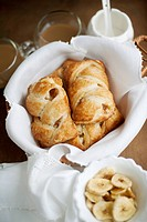 Baked pastries with banana