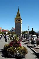Hafen von Lindau im Bodensee mit Mangturm. Port of Lindau in Lake Constance with Mang Tower. Achtung: Nur zur redaktionellen Verwendung _ nicht für We...