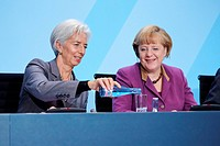Chancellor Angela Merkel has received the heads of the 5 international economic and financial organizationsOECD,IWF,world Bank,WTO,ILO to talk about t...