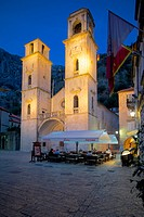 Europe, Montenegro, Kotor, Old Town, St Tryphon Cathedral at Night