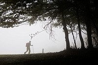 Hiker walking in misty forest path Montseny Natural Park Barcelona Catalonia Spain