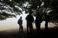 Hikers under a big tree Montseny Natural Park Barcelona Catalonia Spain