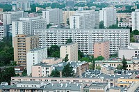 Panorama of Warsaw with typical polish house of flats
