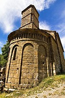Apse and bell tower of the church Mozarabic - Romanesque Santa Eulalia de Susín - Biescas - Serrablo - Alto Gallego - Huesca Province - Aragon - Arago...