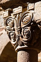Capital in the Romanesque cloister of the monastery of Santa Maria - L'Estany - Bages - Barcelona - Catalonia - Spain - Europe